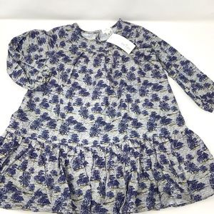 Blue floral long sleeve dress size 3